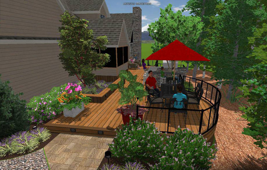 Being able to show the clients their new landscape design in full-color 3D modeling was a great way for them to see the advantages of the proposed ideas.