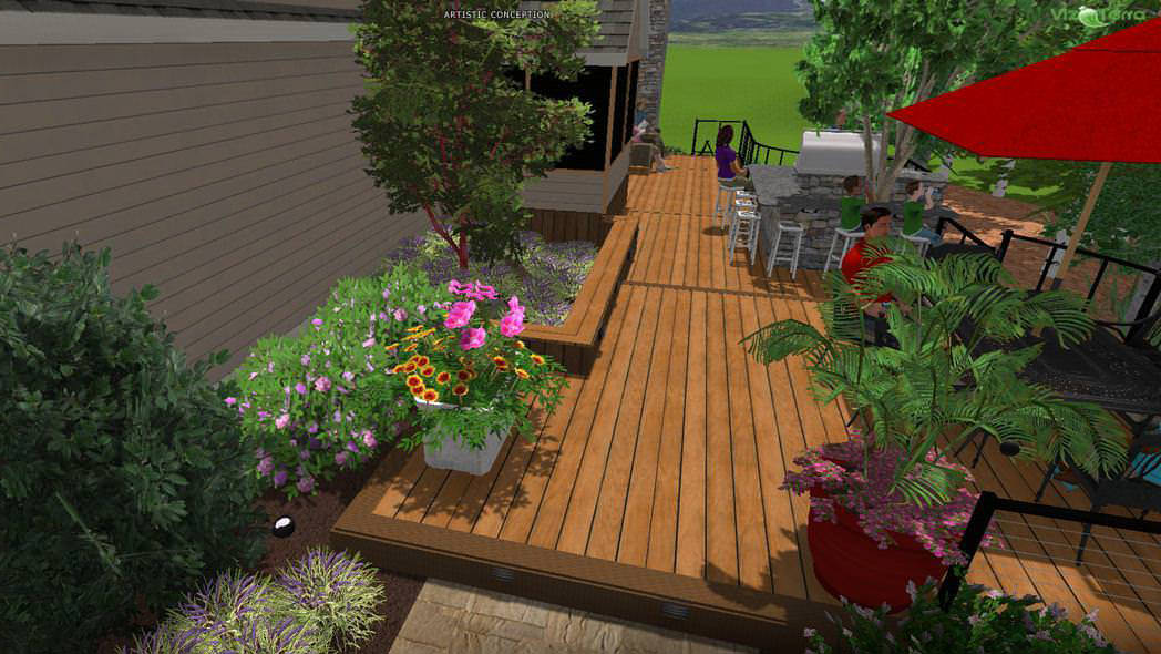 Using our 3D design software, we were able to show the homeowner many landscaping and planting possibilities with the click of the computer mouse, all while sitting at their kitchen table.