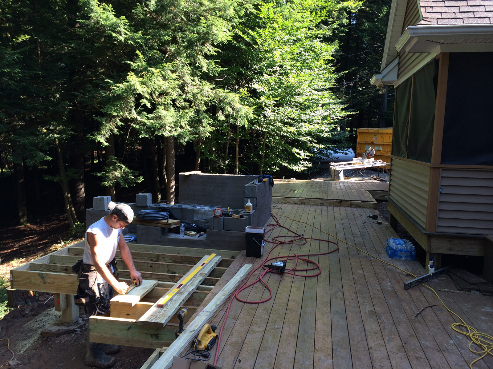 Once the initial kitchen framing was in, the deck installation was a breeze.