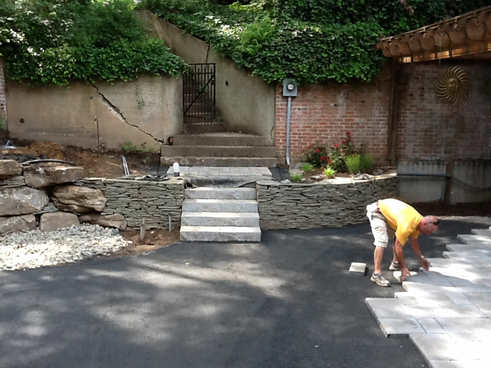 Each flagstone was hand-placed, creating a beautiful geometric patio to balance out the architecture of the home.
