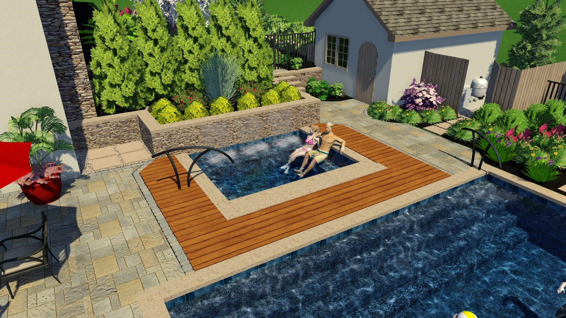We implemented the same Brazilian hardwood used to construct the main deck into the spa decking as one way to tie everything together.