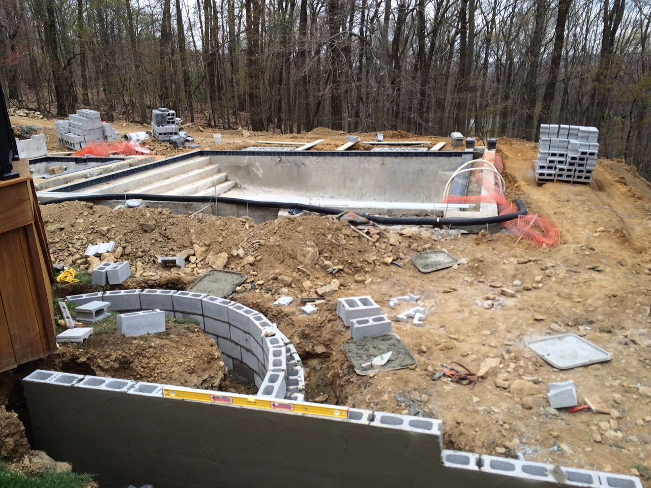 Once the gunite pool shell was in place, it was time to map out the rest of the surrounding features!