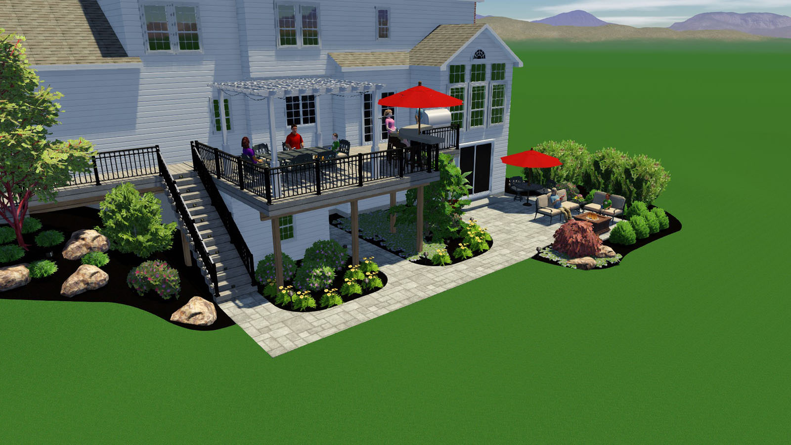 Creating the 3D full-color model of this space really helped the homeowners understand the full potential for their own backyard.