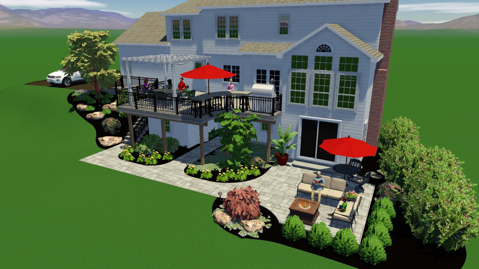 Being able to see the balance of hardscape and landscape within the 3D master plan is a wonderful way for everyone to be on the same page during the design process.