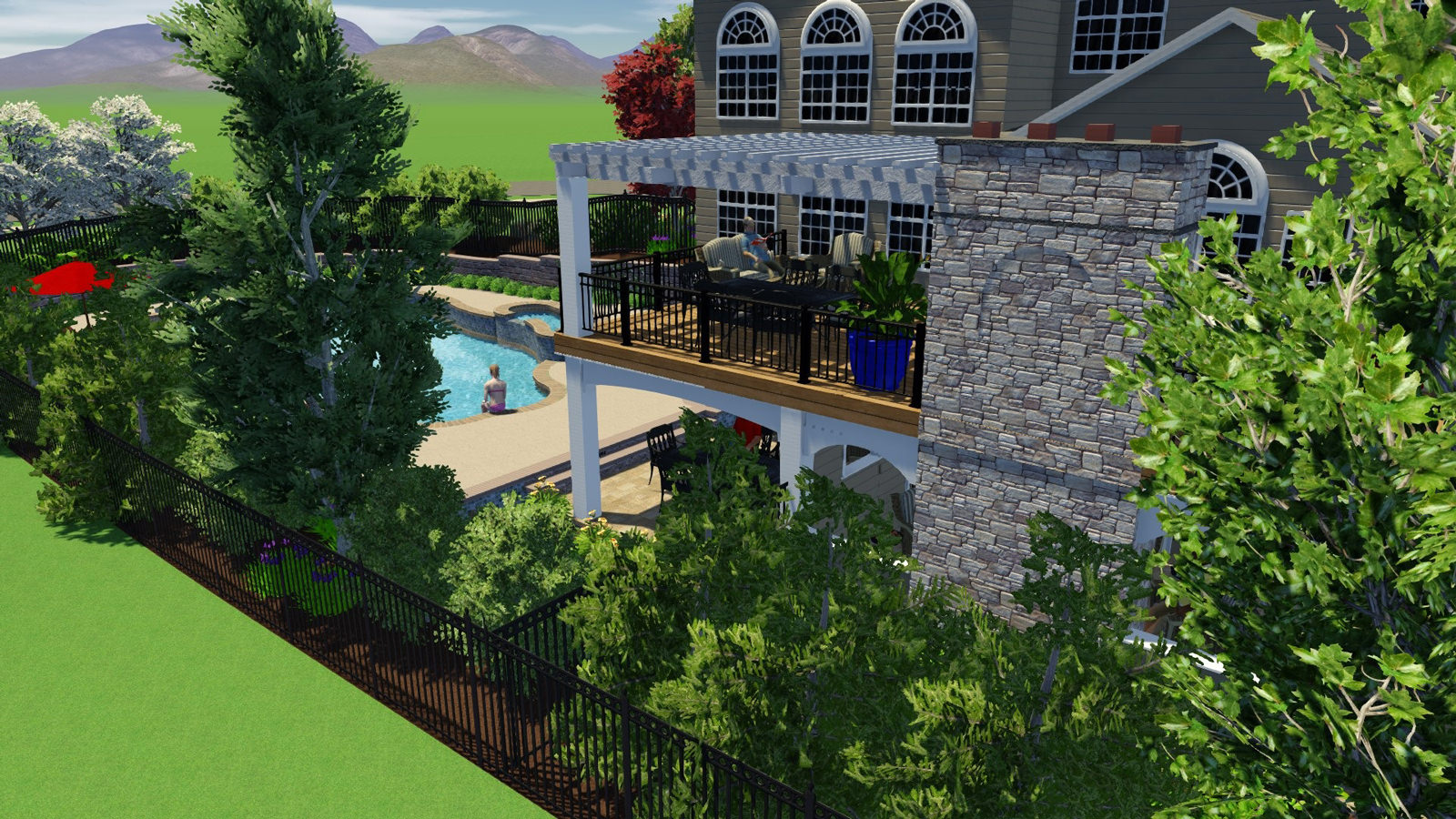 Specifically selected and strategically placed landscaping was key in adding extra privacy from the surrounding neighbors.