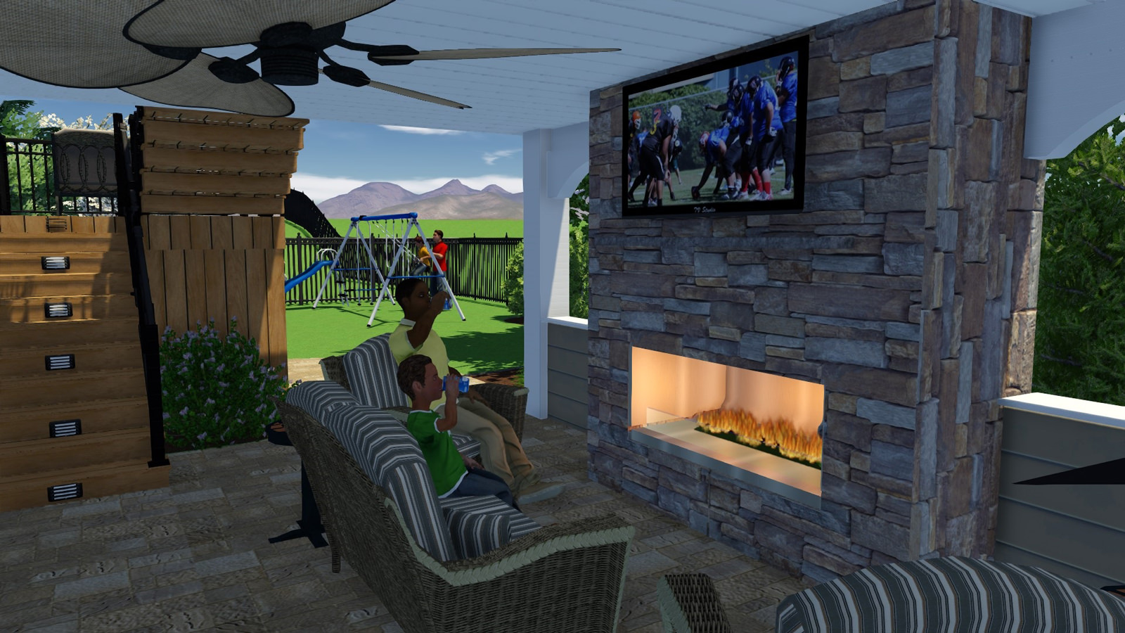 Implementing features like ceiling fans are a  great way to keep cool in the summer and the fireplace is perfect for chilly autumn nights!