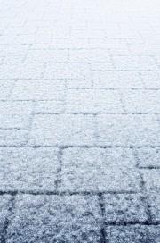 snow on pavers
