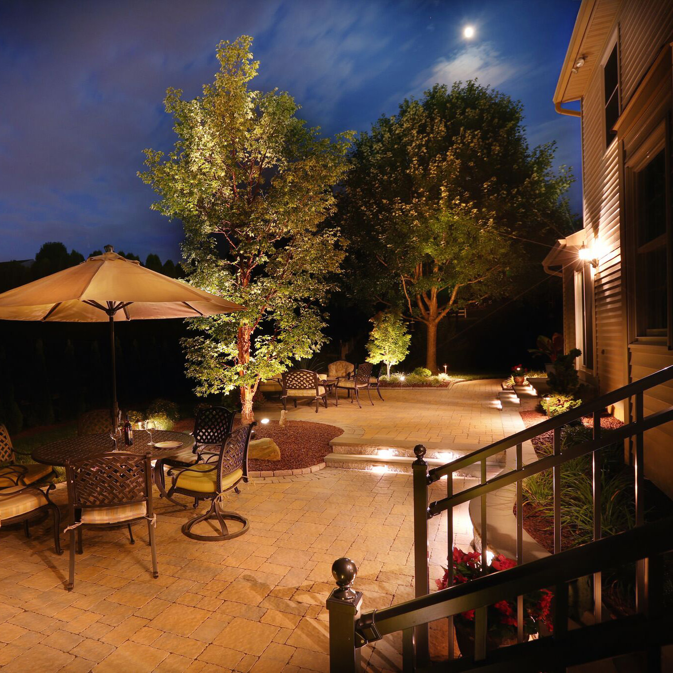 Implementing landscape and feature lighting into your landscape design is a great way to create a warm and welcoming environment once the sun sets.