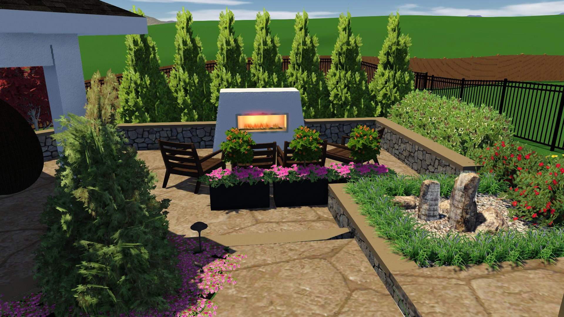 The first destination in this MasterPLAN Outdoor Living space is complete with a custom natural gas fireplace, nearby basalt spire water feature and surrounding seating wall to create the ultimate cozy relaxation and conversation zone.