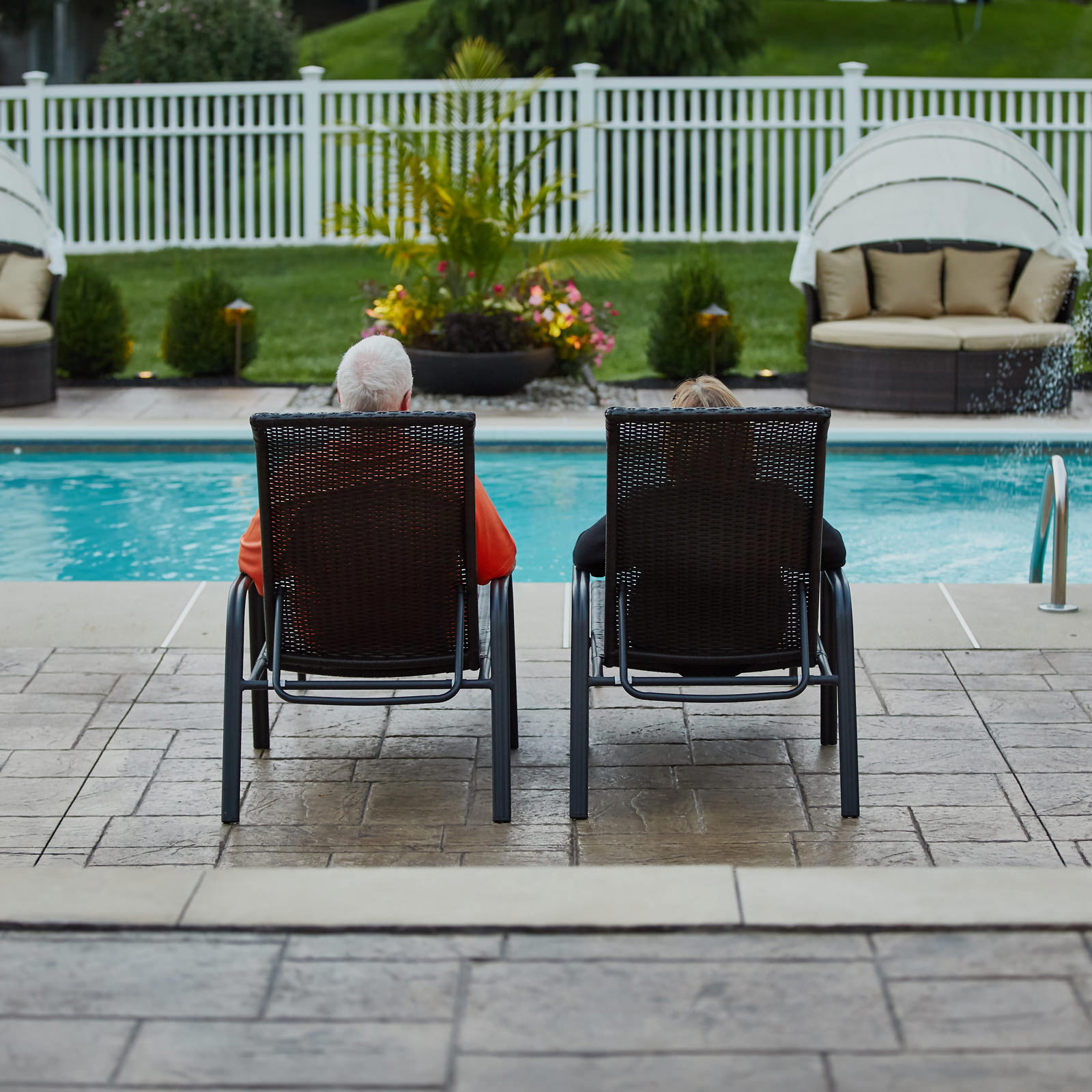 This lovely couple from Bethlehem feel like they are on vacation everyday in their own MasterPLAN created backyard!