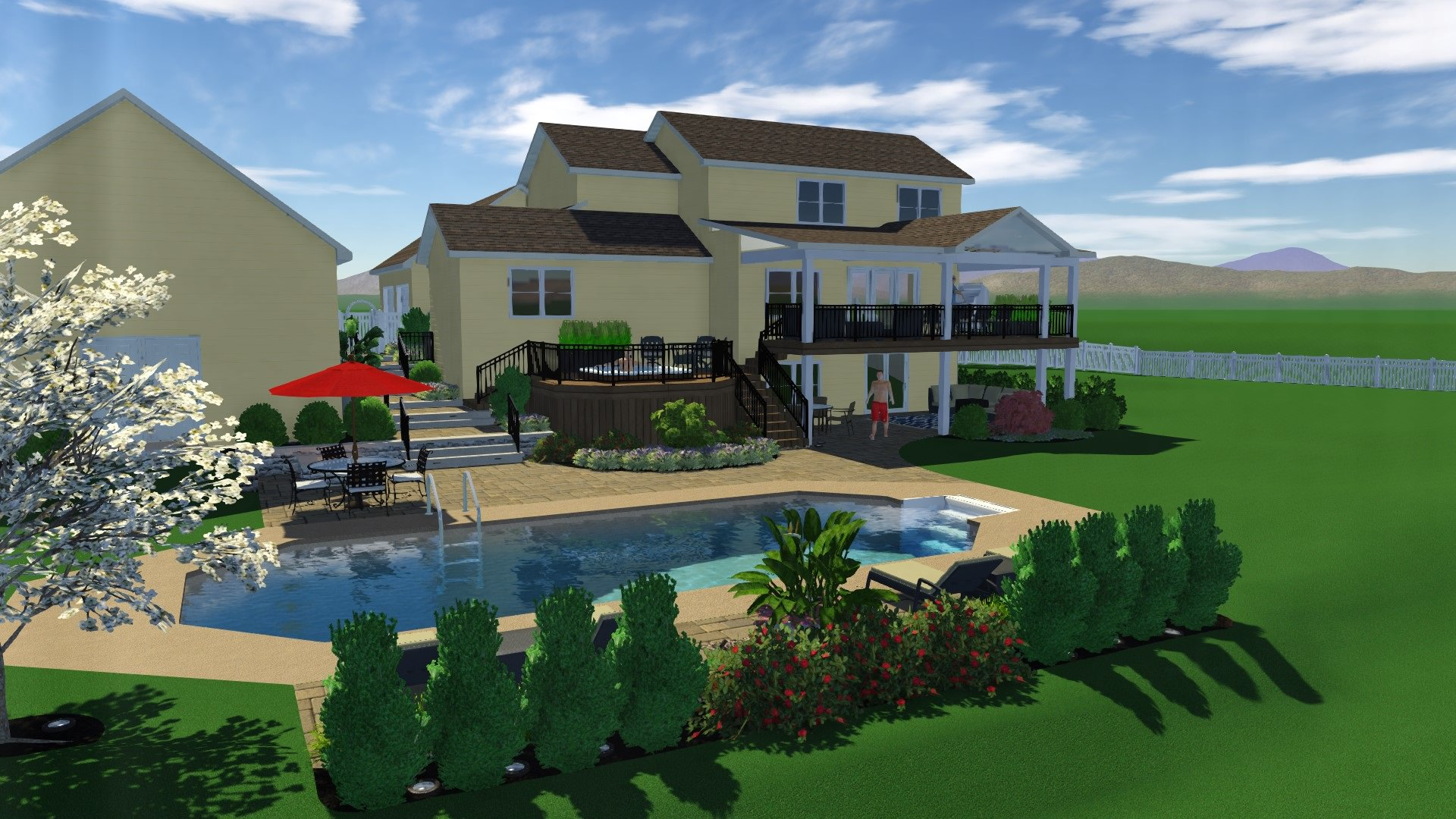 This first 3D image just blew the homeowners away! Being able to see all their wish list items in one master plan was what they have been waiting so long for!