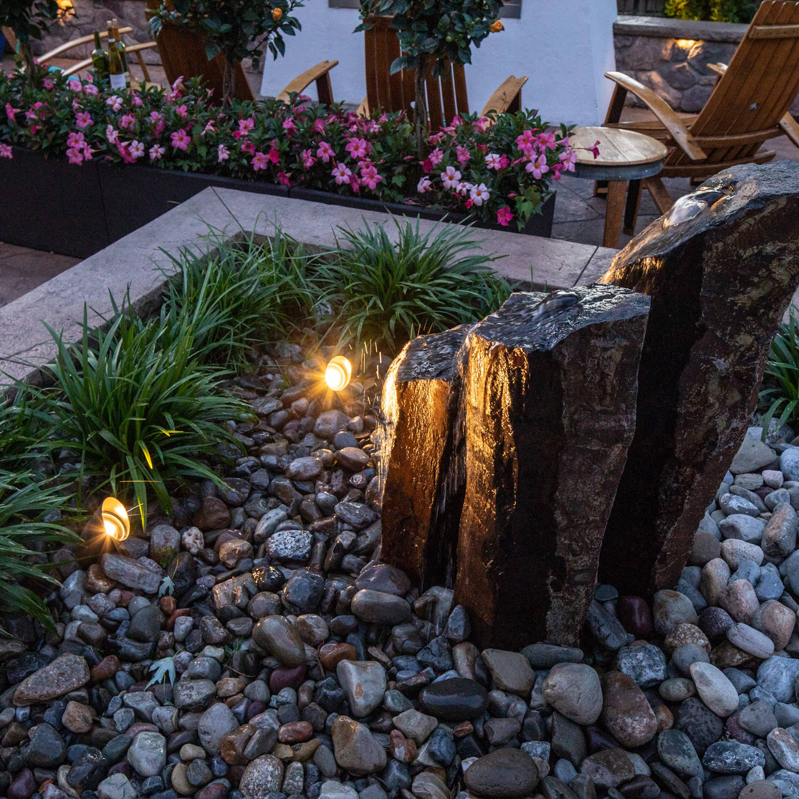 Beautiful within the landscape and soothing to the soul, natural basalt stone spires make the perfect water feature to accent any outdoor living space!
