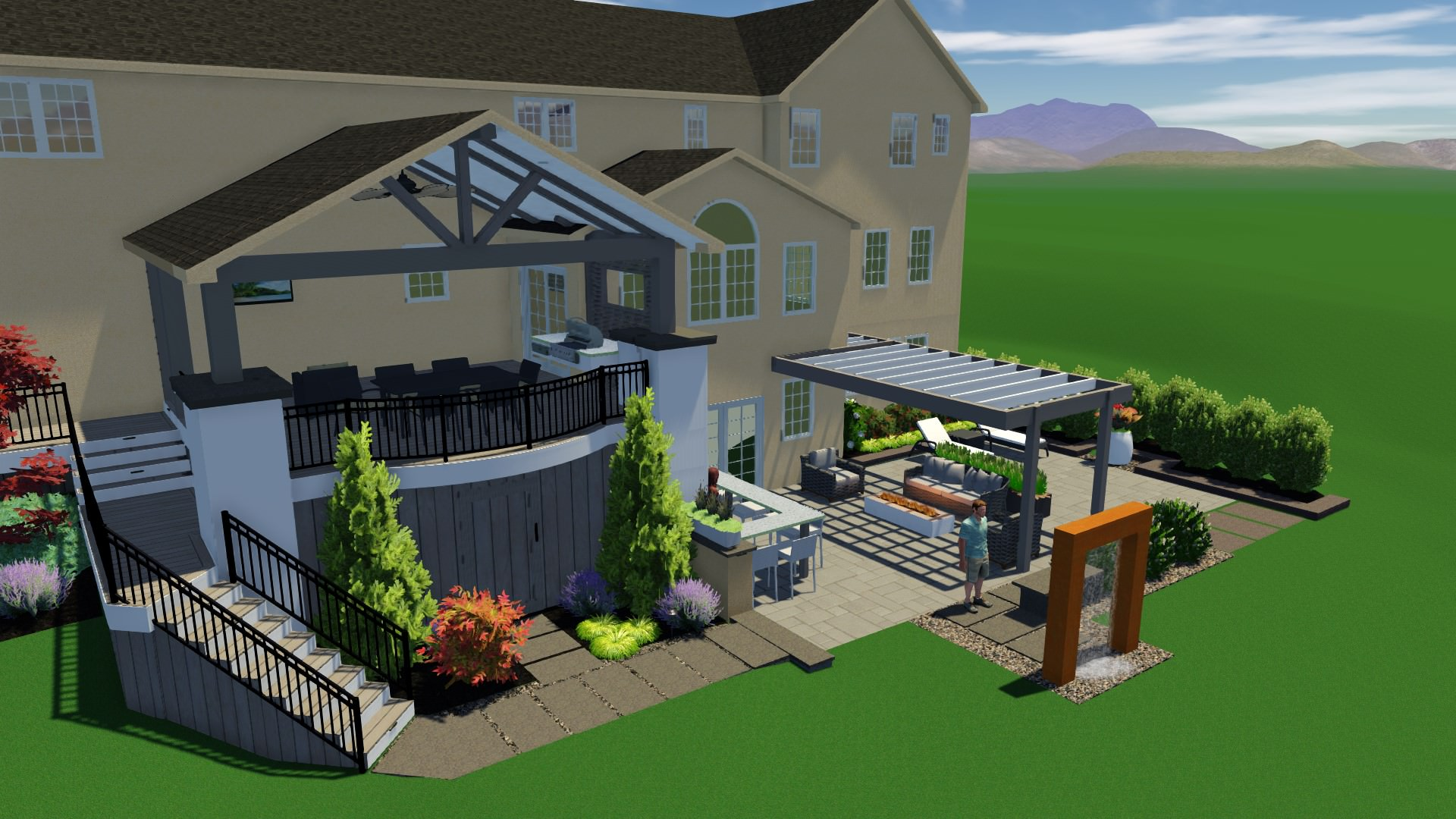 This design includes a deck space for immediate cooking/dining/lounging from the homeowner's dining room and a lower patio entertainment and relaxation space outside of the finished basement!