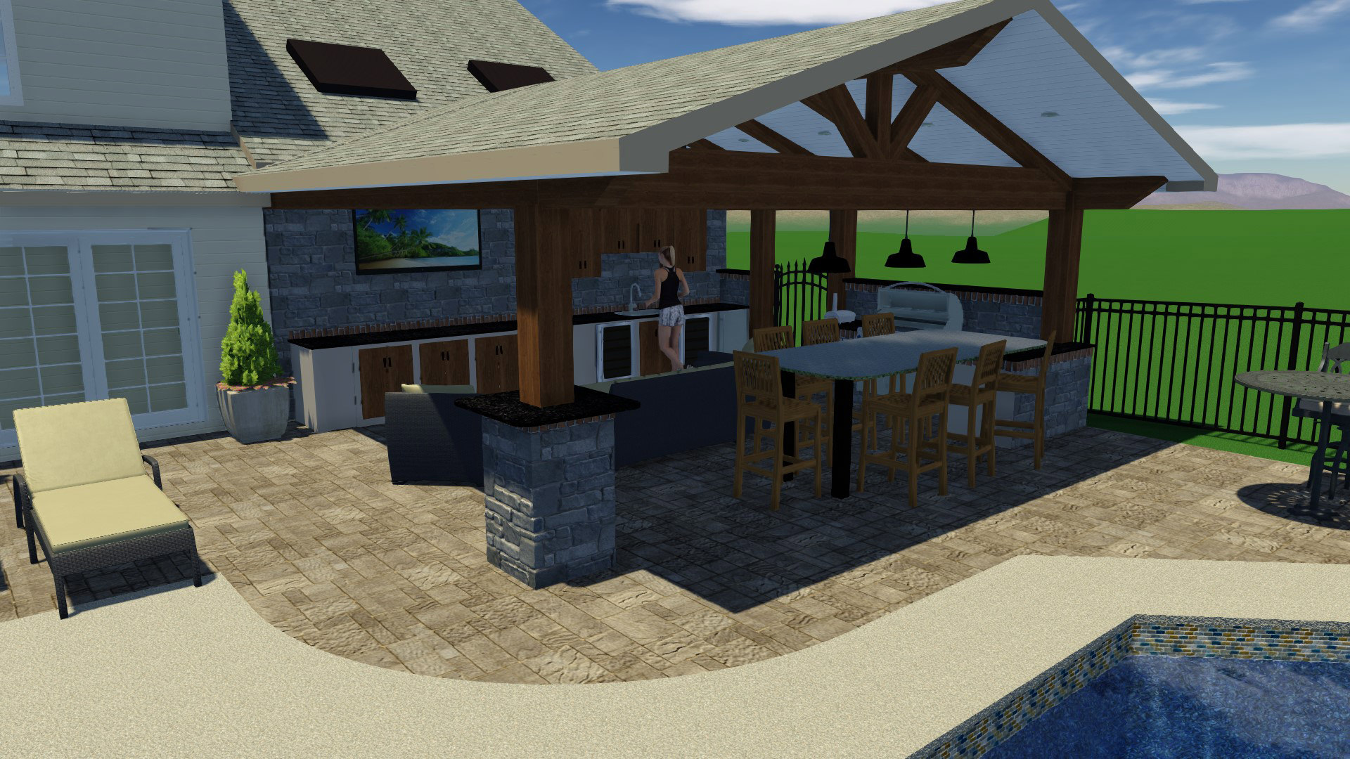 This new attached roof created an extended and protected living space to house areas for cooking, dining and lounging!